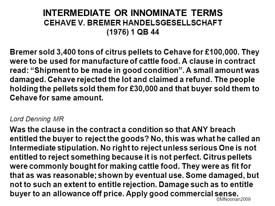 INTERMEDIATE OR INNOMINATE TERMS CEHAVE V
