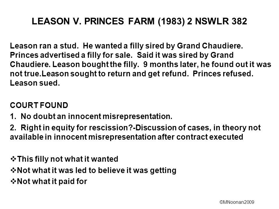 LEASON V. PRINCES FARM (1983) 2 NSWLR 382
