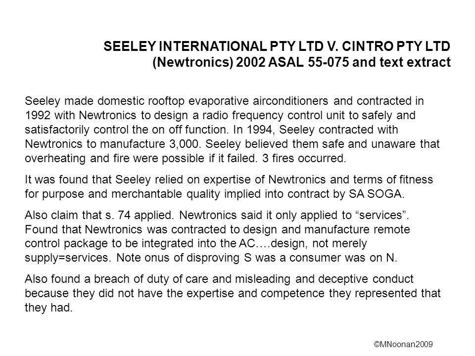 SEELEY INTERNATIONAL PTY LTD V