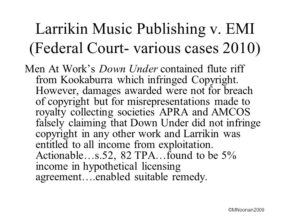 Larrikin Music Publishing v. EMI (Federal Court- various cases 2010)