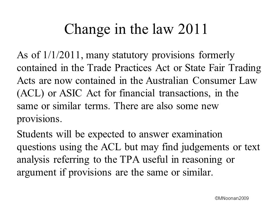 Change in the law 2011