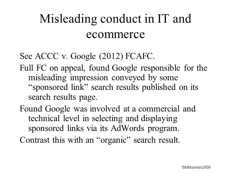 Misleading conduct in IT and ecommerce