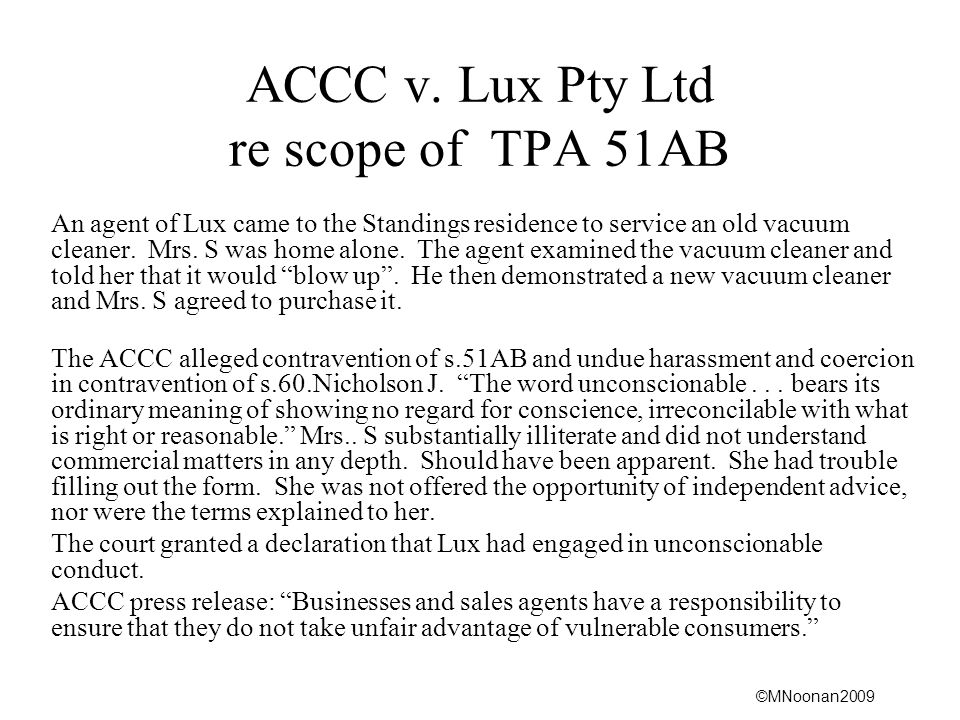 ACCC v. Lux Pty Ltd re scope of TPA 51AB