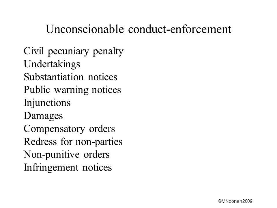 Unconscionable conduct-enforcement