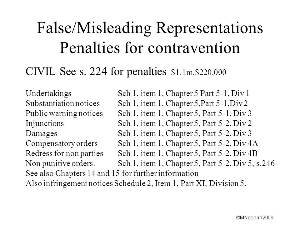 False/Misleading Representations Penalties for contravention
