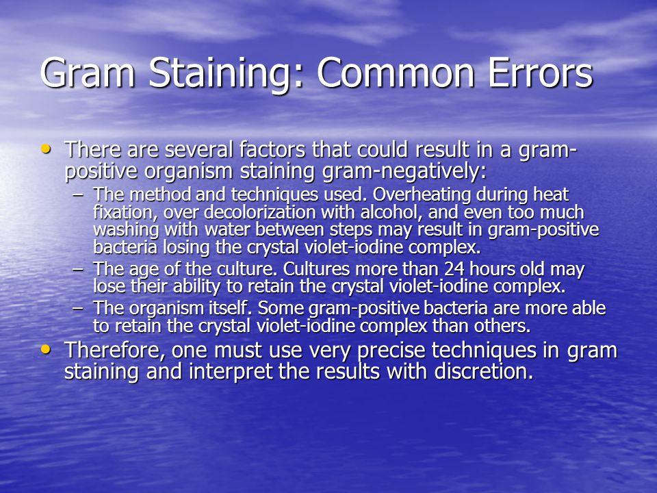 Gram Staining: Common Errors