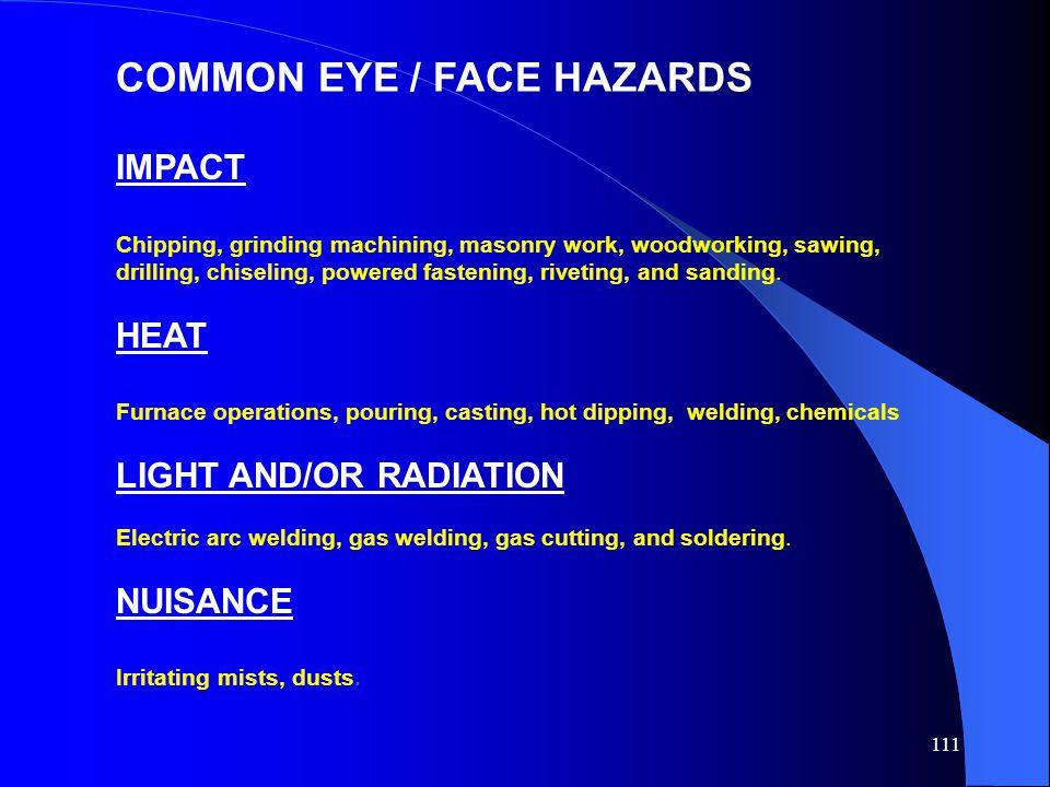 COMMON EYE / FACE HAZARDS