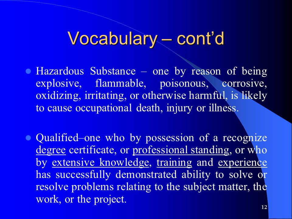 Vocabulary – cont'd