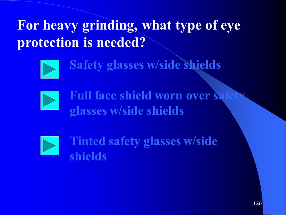 For heavy grinding, what type of eye protection is needed