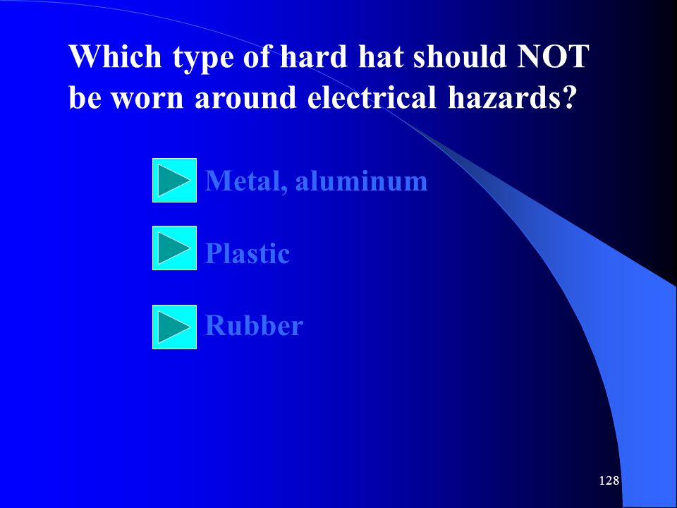 Which type of hard hat should NOT be worn around electrical hazards