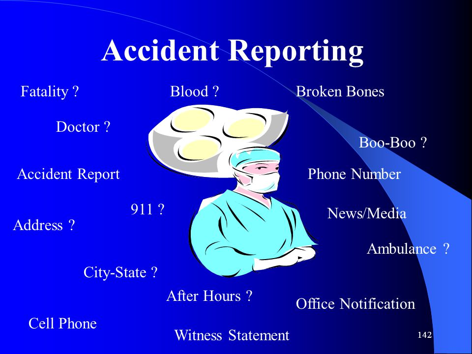 Accident Reporting Fatality Blood Broken Bones Doctor Boo-Boo