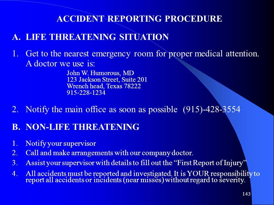 ACCIDENT REPORTING PROCEDURE