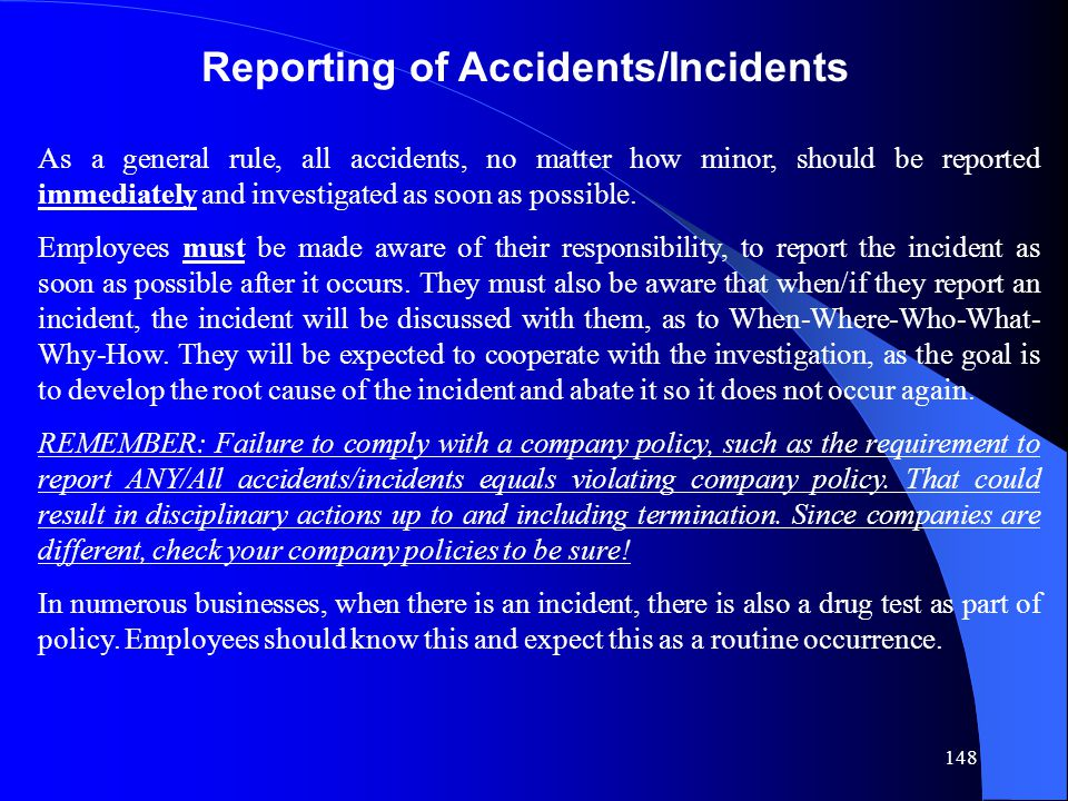 Reporting of Accidents/Incidents