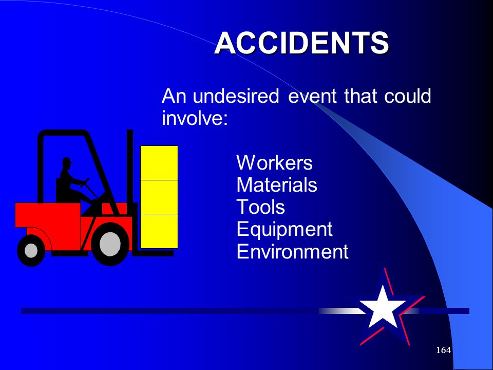 ACCIDENTS An undesired event that could involve: Workers Materials