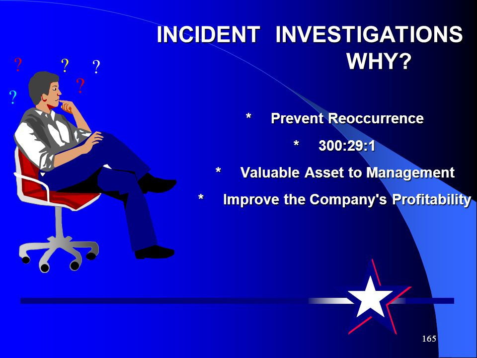 INCIDENT INVESTIGATIONS WHY. Prevent Reoccurrence. 300:29:1