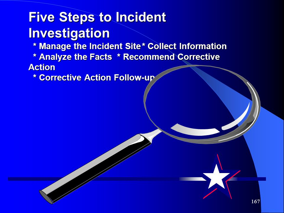 Five Steps to Incident Investigation. Manage the Incident Site