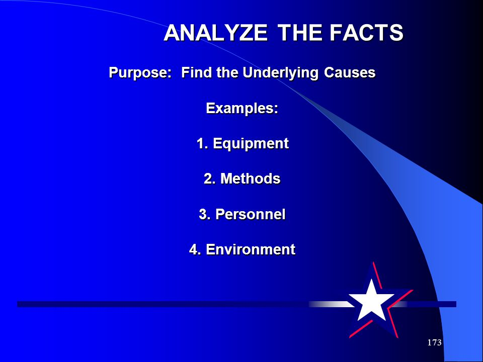 ANALYZE THE FACTS Purpose: Find the Underlying Causes Examples: 1