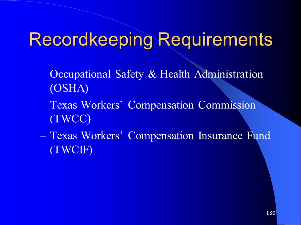 Recordkeeping Requirements