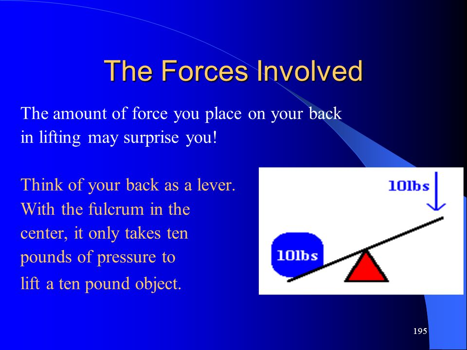The Forces Involved The amount of force you place on your back
