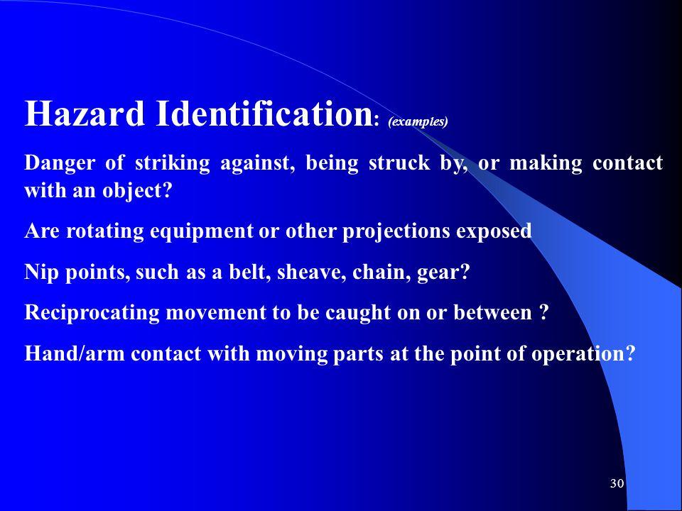 Hazard Identification: (examples)