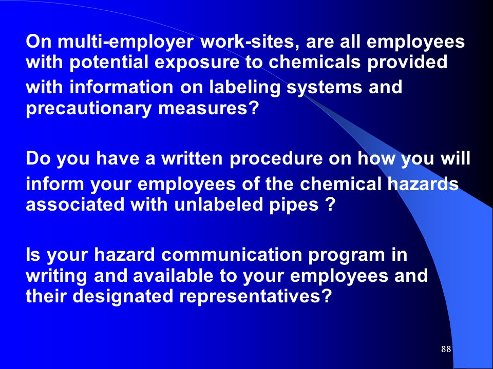 On multi-employer work-sites, are all employees with potential exposure to chemicals provided