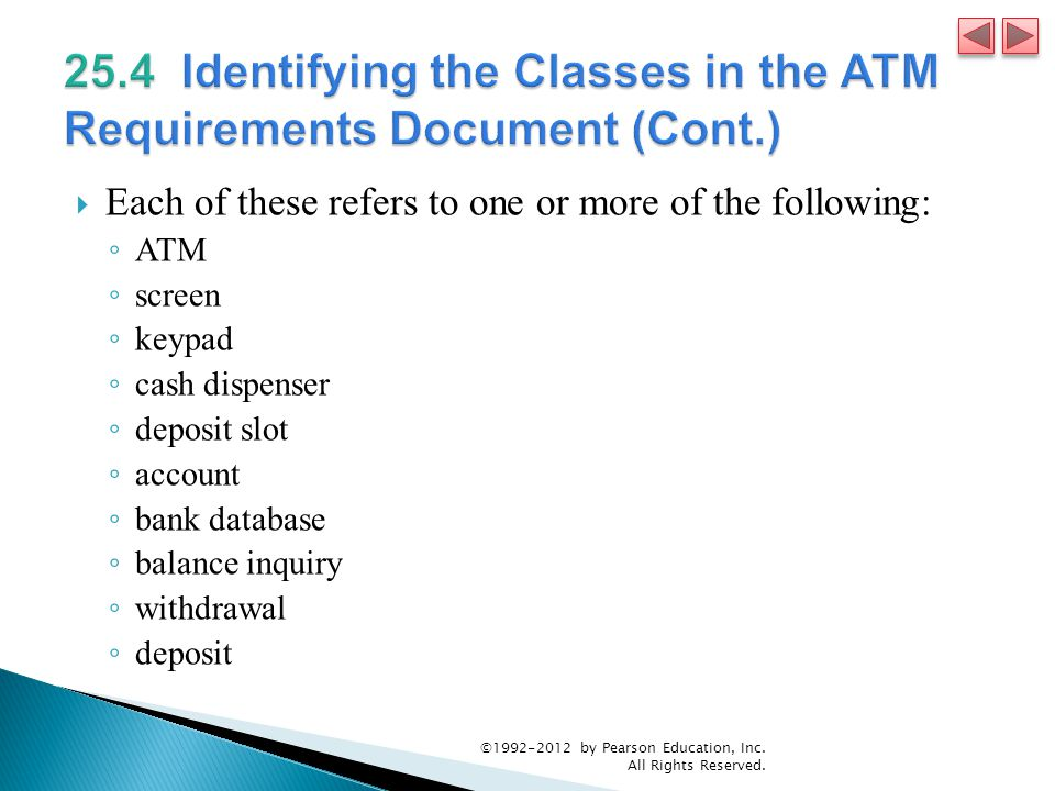 25.4 Identifying the Classes in the ATM Requirements Document (Cont.)