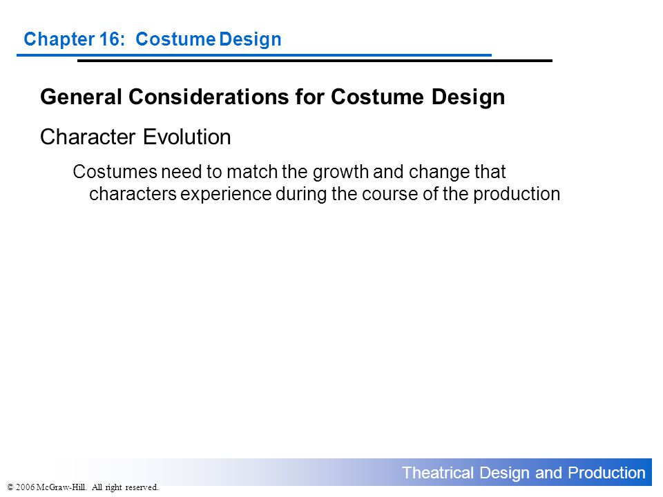 General Considerations for Costume Design Character Evolution