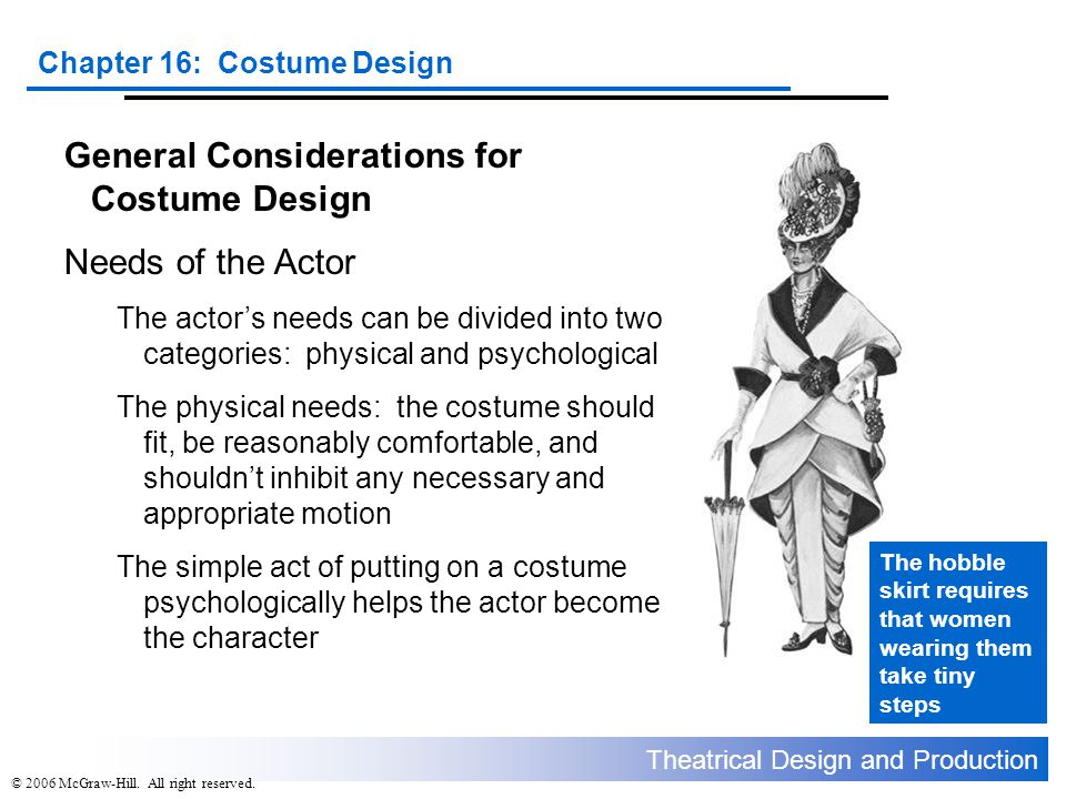 General Considerations for Costume Design Needs of the Actor