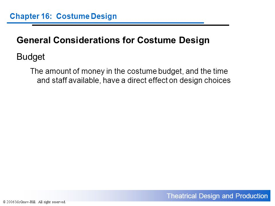 General Considerations for Costume Design Budget