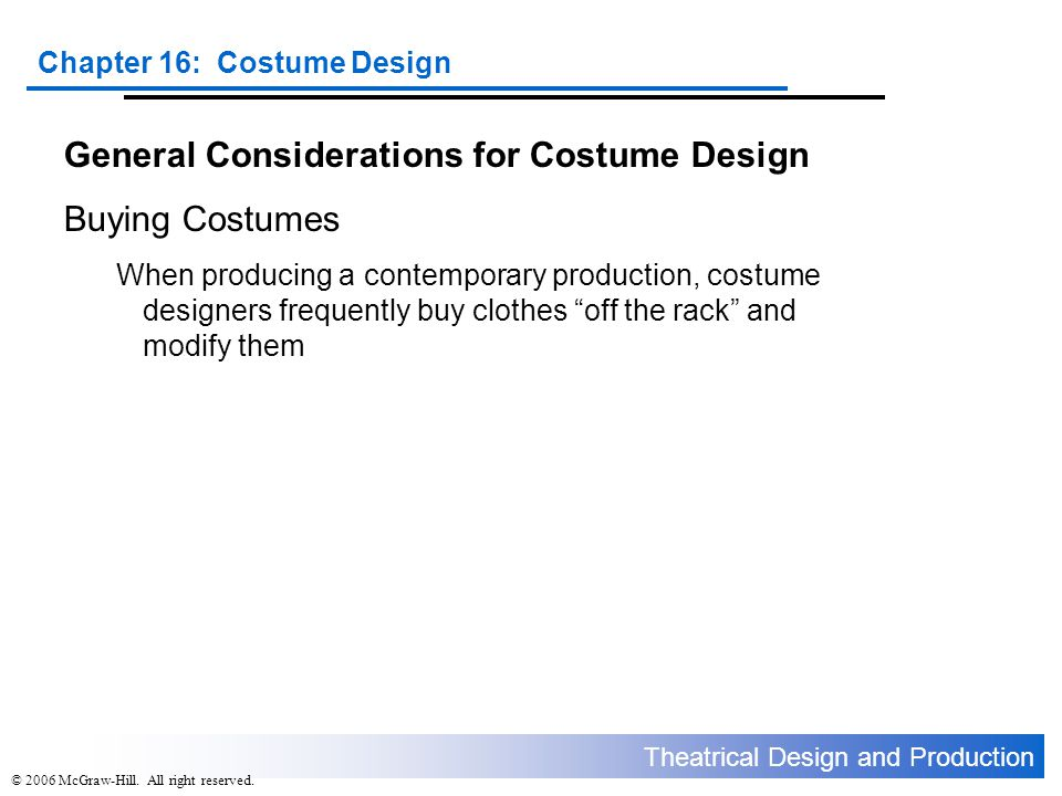 General Considerations for Costume Design Buying Costumes