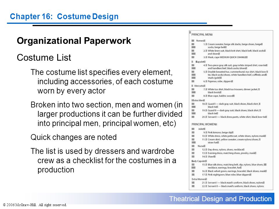 Organizational Paperwork Costume List