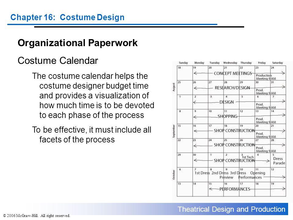 Organizational Paperwork Costume Calendar