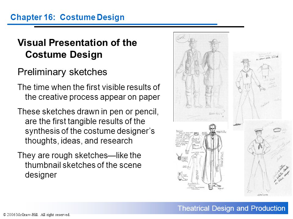 Visual Presentation of the Costume Design Preliminary sketches