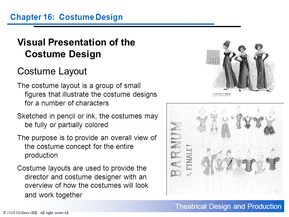 Visual Presentation of the Costume Design Costume Layout