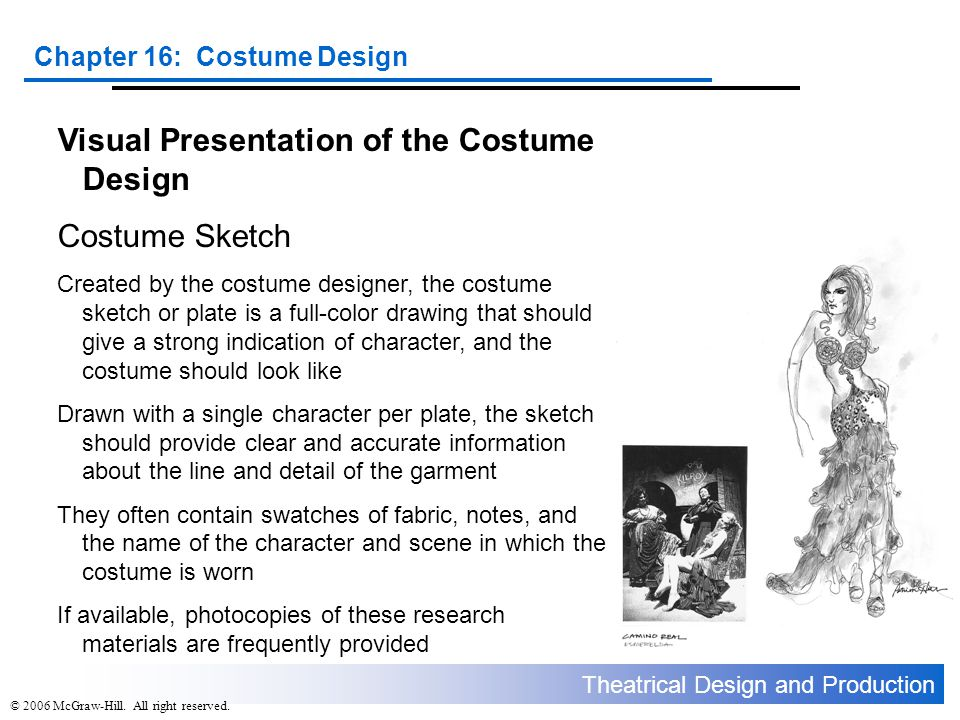 Visual Presentation of the Costume Design Costume Sketch