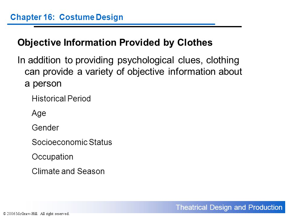 Objective Information Provided by Clothes