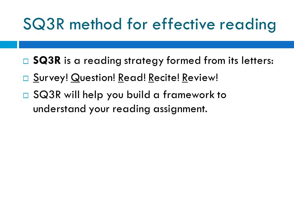 SQ3R method for effective reading