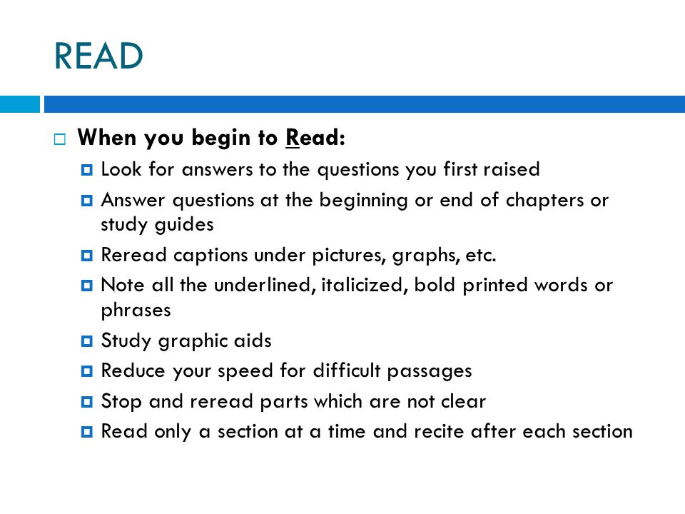READ When you begin to Read: