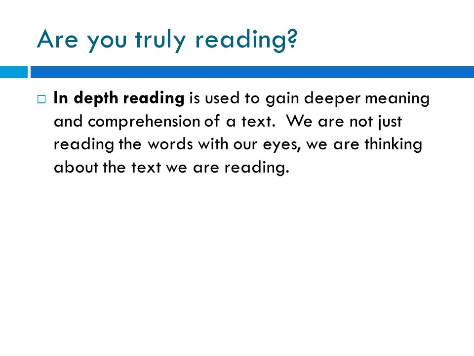 Are you truly reading
