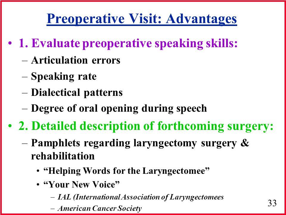 Preoperative Visit: Advantages