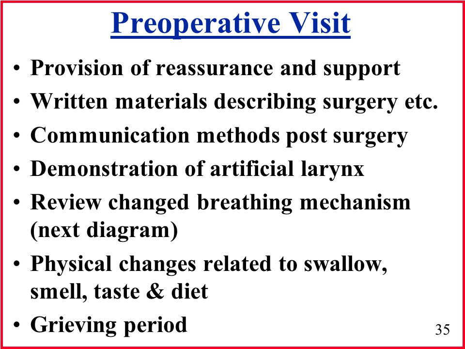 Preoperative Visit Provision of reassurance and support