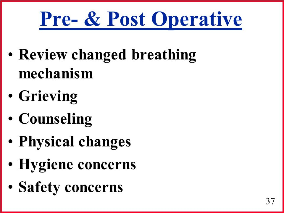 Pre- & Post Operative Review changed breathing mechanism Grieving
