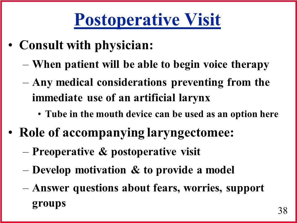 Postoperative Visit Consult with physician: