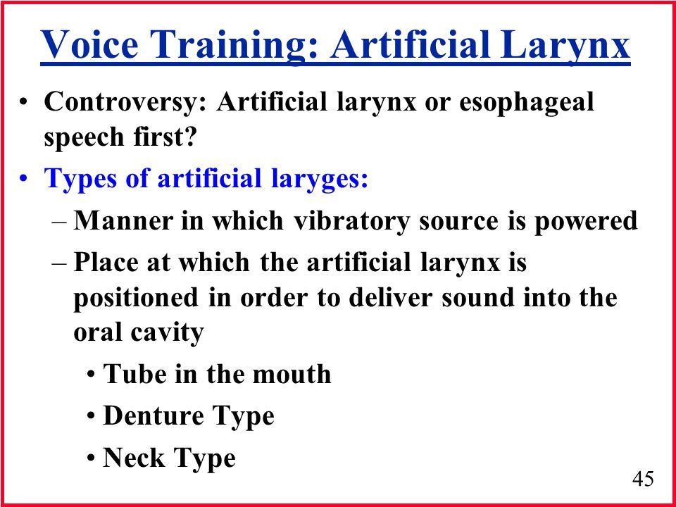 Voice Training: Artificial Larynx