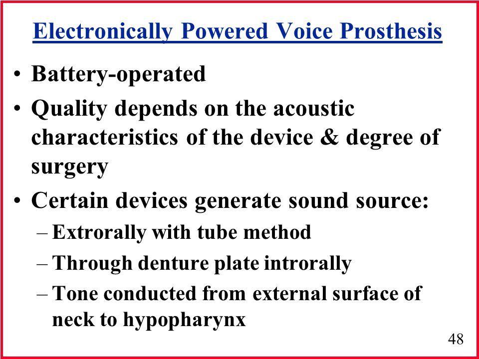 Electronically Powered Voice Prosthesis