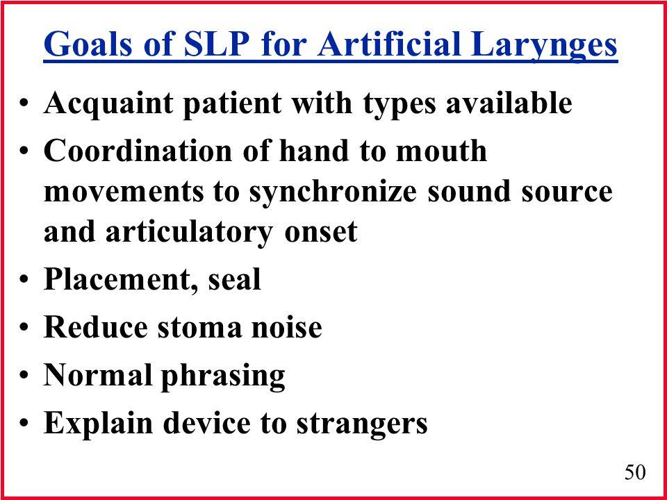 Goals of SLP for Artificial Larynges