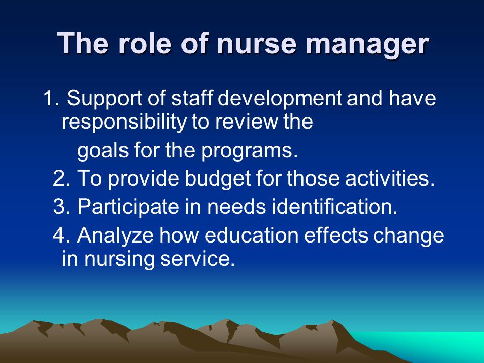 The role of nurse manager