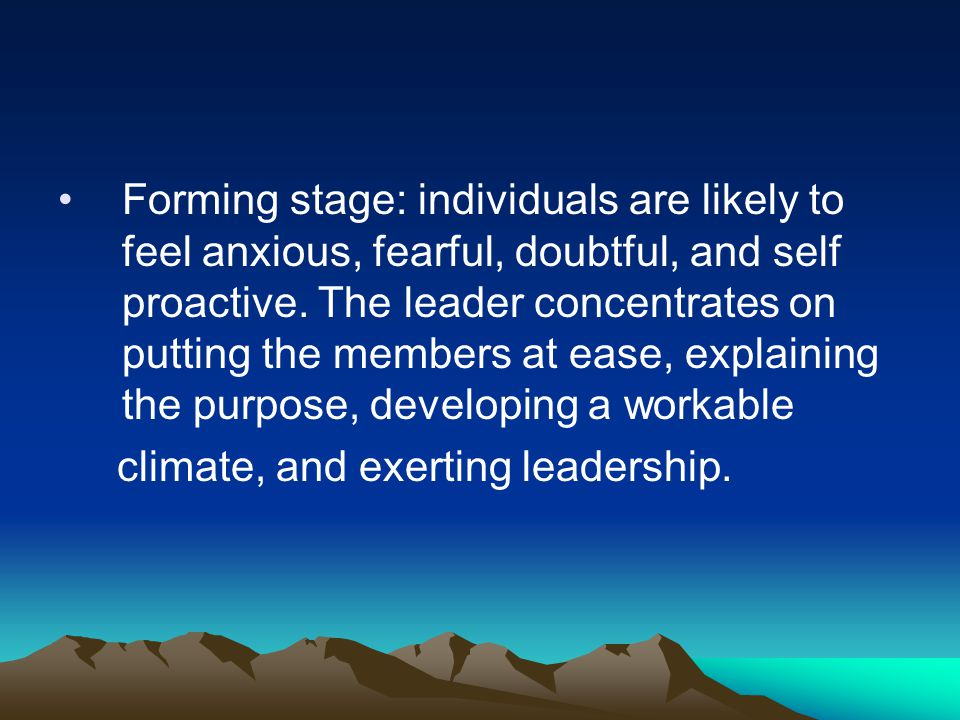 Forming stage: individuals are likely to feel anxious, fearful, doubtful, and self proactive. The leader concentrates on putting the members at ease, explaining the purpose, developing a workable
