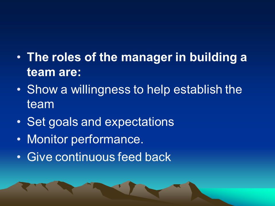 The roles of the manager in building a team are: