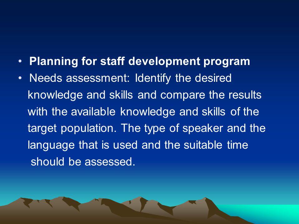 Planning for staff development program